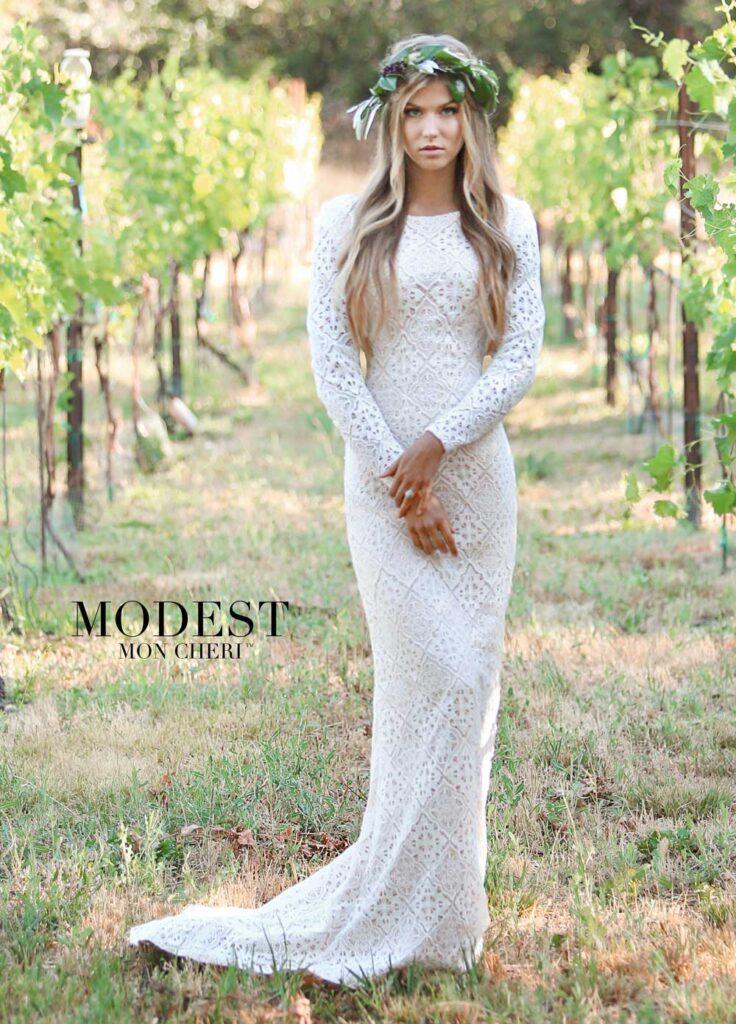 Mon Cheri Modest Wedding Dress